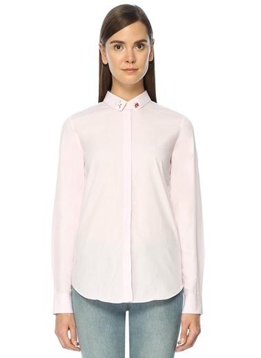 Maison Yakası Nakışlı İngiliz Yaka Uzun Kollu Gömlek  Pembe